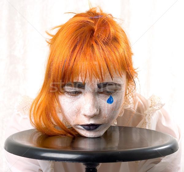 синий слезу клоуна макияж девушки Сток-фото © dolgachov