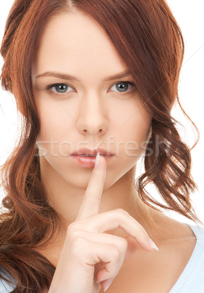 Parmak dudaklar parlak resim genç kadın kadın Stok fotoğraf © dolgachov