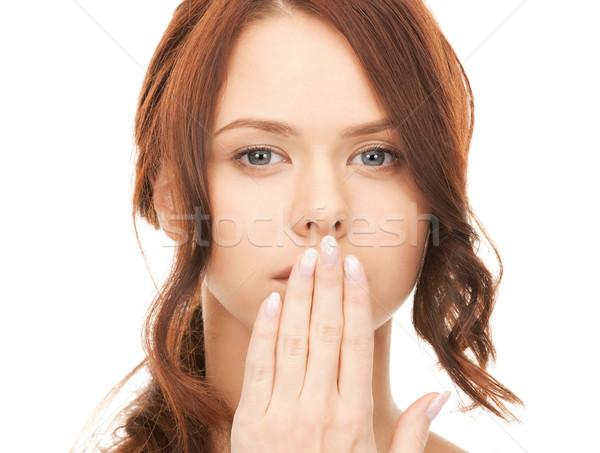 Mulher mão boca brilhante quadro Foto stock © dolgachov
