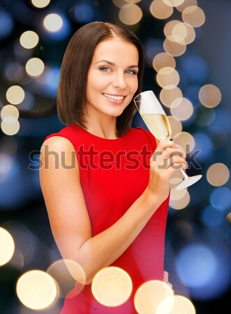 lovely woman over city lights Stock photo © dolgachov