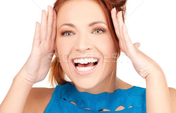 удивление фотография женщину рук синий Сток-фото © dolgachov