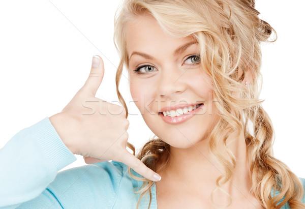 женщину жест связи красивая женщина Сток-фото © dolgachov