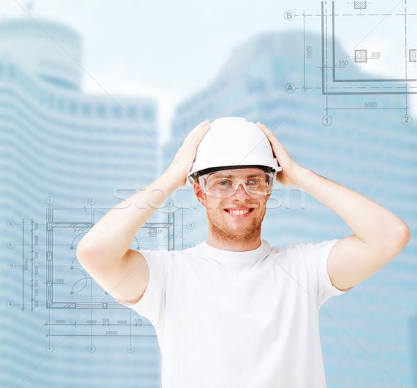 男性 建築 白 ヘルメット 保護眼鏡 建物 ストックフォト © dolgachov