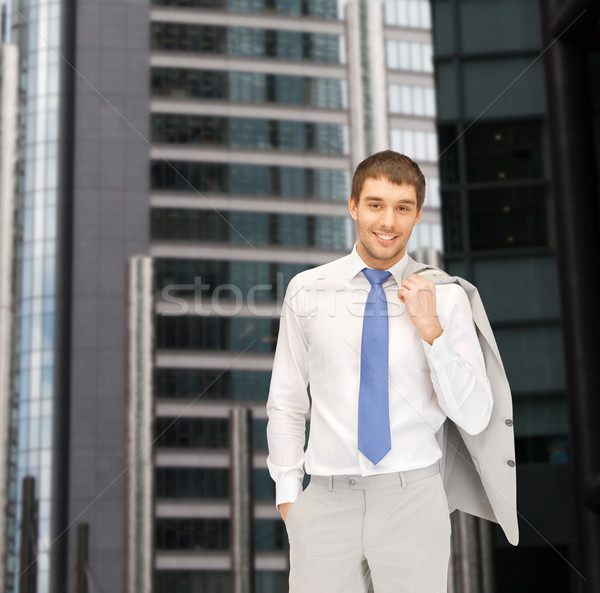 Knap zakenman pak gebouw ontwikkelen bouw Stockfoto © dolgachov
