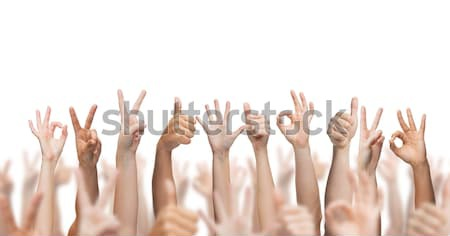 human hands showing thumbs up, ok and peace signs Stock photo © dolgachov