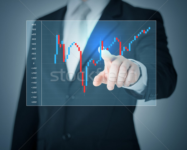 man hand pointing at forex chart Stock photo © dolgachov