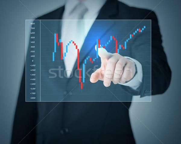 Człowiek strony wskazując forex wykres inwestycja Zdjęcia stock © dolgachov