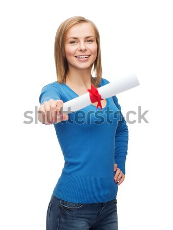 smiling woman with diploma Stock photo © dolgachov
