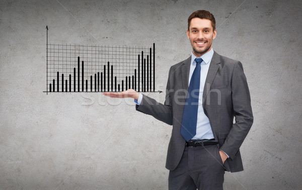 man showing growing chart on the palm of his hand Stock photo © dolgachov