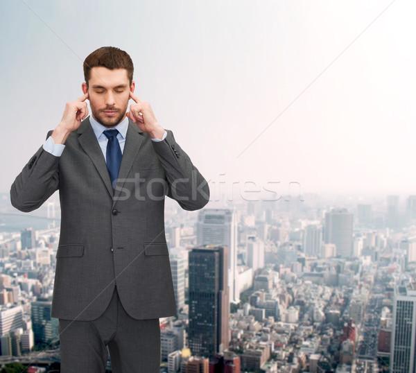 Bosszús üzletember fülek kezek iroda oktatás Stock fotó © dolgachov