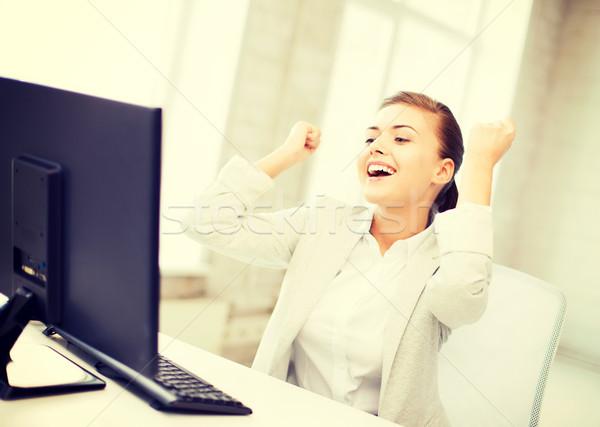 üzletasszony számítógép iroda kép boldog nő Stock fotó © dolgachov
