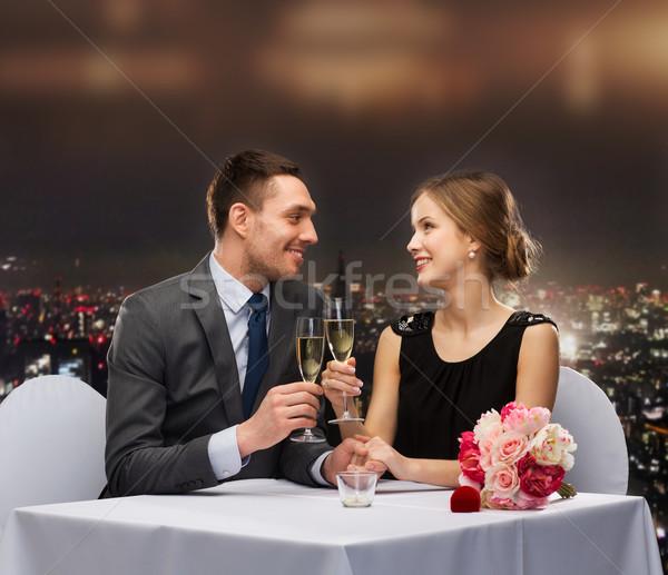 Zdjęcia stock: Para · okulary · szampana · restauracji · wakacje · uśmiechnięty