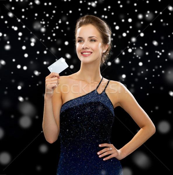 улыбающаяся женщина вечернее платье кредитных карт богатство деньги Сток-фото © dolgachov