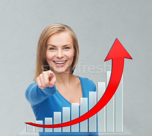 улыбаясь молодые деловая женщина указывая деловые люди экономика Сток-фото © dolgachov