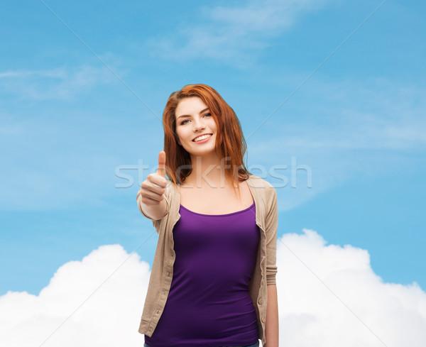Stockfoto: Glimlachend · tienermeisje · tonen · toekomst · droom