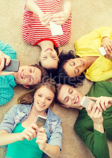 ストックフォト: グループ · 笑みを浮かべて · 人 · 階 · 教育