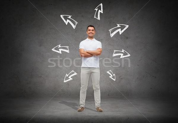 Sorridente homem seta escolha direção Foto stock © dolgachov