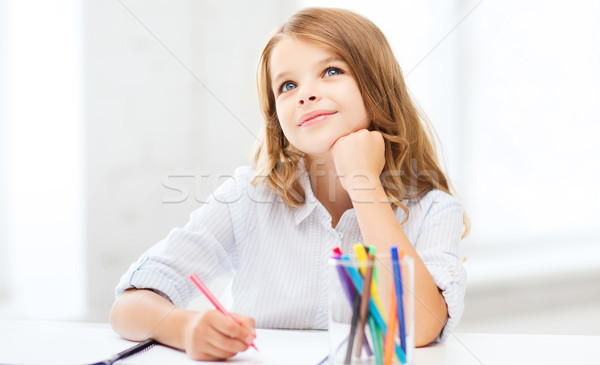 little student girl drawing at school Stock photo © dolgachov
