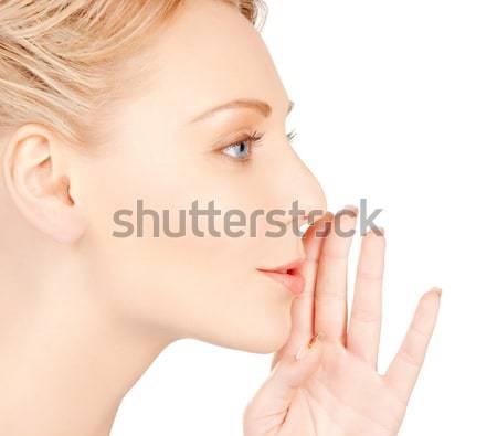 beautiful woman with diamond engagement ring Stock photo © dolgachov