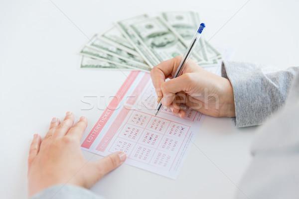 Ręce loteria bilet ceny działalności Zdjęcia stock © dolgachov