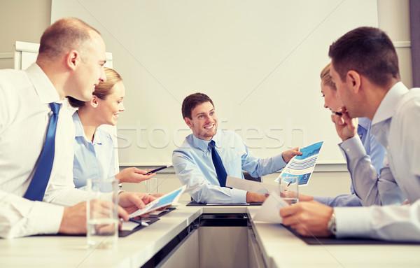 グループ 笑みを浮かべて 会議 オフィス ビジネスの方々 ストックフォト © dolgachov