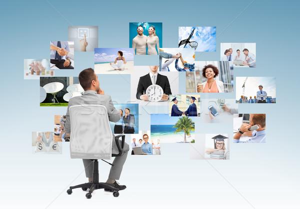 Işadamı oturma ofis koltuğu geri iş adamları dizayn Stok fotoğraf © dolgachov