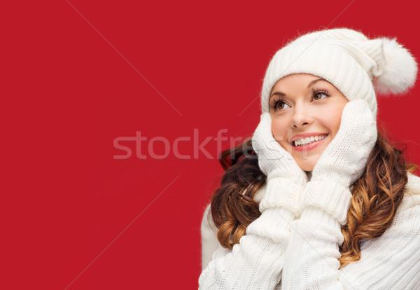Donna Hat sciarpa muffole inverno persone Foto d'archivio © dolgachov
