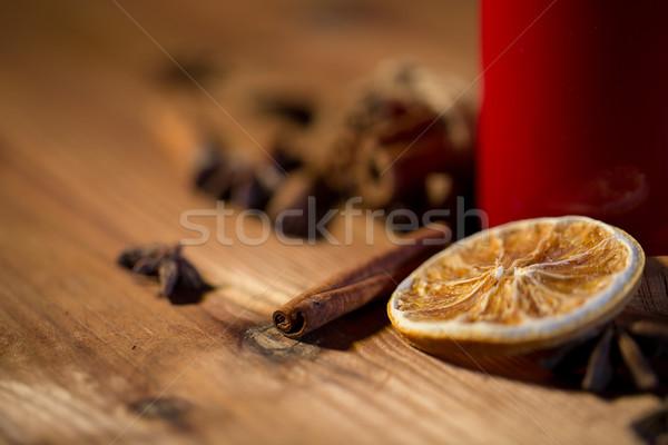 Tarçın anason kurutulmuş turuncu Noel Stok fotoğraf © dolgachov