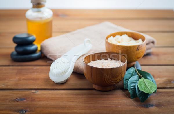 Foto stock: Sal · aceite · de · masaje · bano · cuerpo
