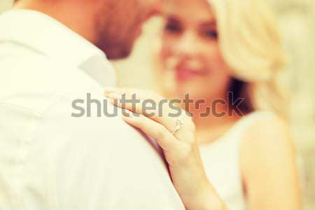 Közelkép boldog házas leszbikus pár ölel Stock fotó © dolgachov