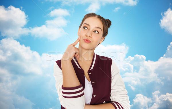 Boldog csinos tinilány gondolkodik emberek tinédzserek Stock fotó © dolgachov