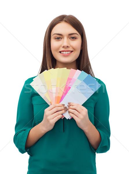 Gülen genç kadın renk dekorasyon dizayn insanlar Stok fotoğraf © dolgachov