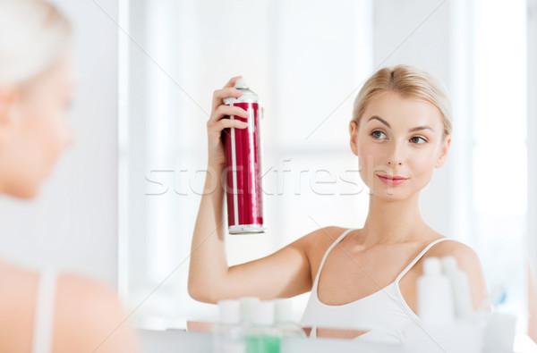 Nő hajlakk haj fürdőszoba szépség higiénia Stock fotó © dolgachov