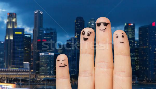 Dedos emoticon faces cidade viajar Foto stock © dolgachov