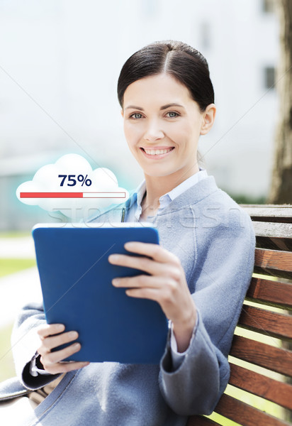 smiling business woman with tablet pc in city Stock photo © dolgachov