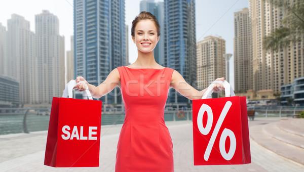 幸せ 女性 ショッピングバッグ ドバイ 市 販売 ストックフォト © dolgachov