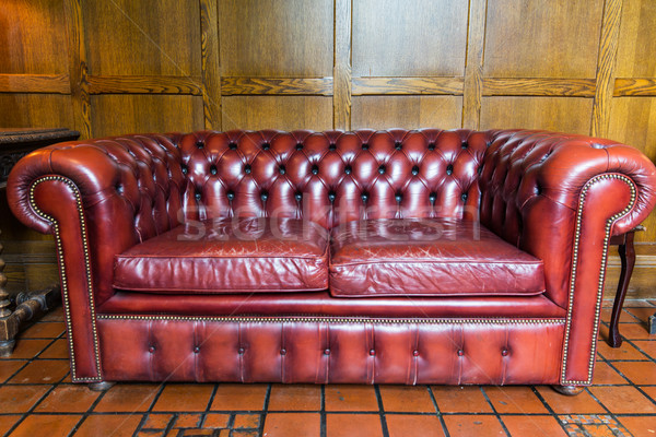 close up of vintage leather sofa Stock photo © dolgachov
