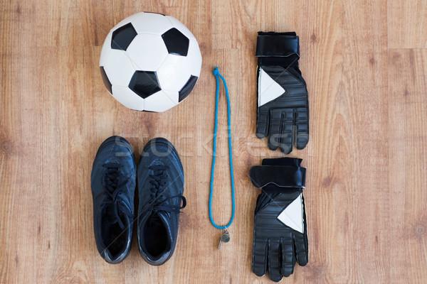 Futbol topu bot ıslık eldiven spor Stok fotoğraf © dolgachov
