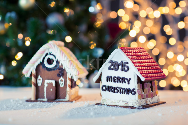 closeup of beautiful gingerbread houses at home Stock photo © dolgachov