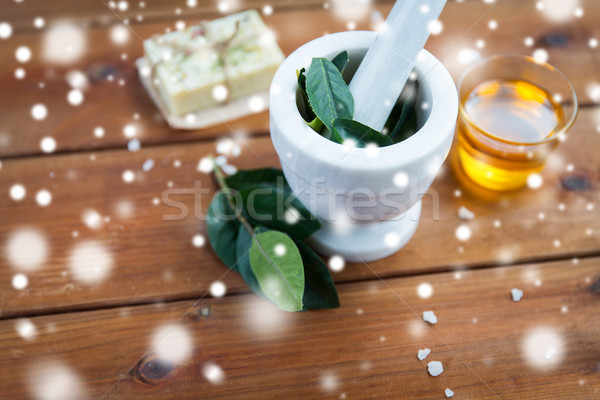 mortar and pestle with leaves on wood Stock photo © dolgachov