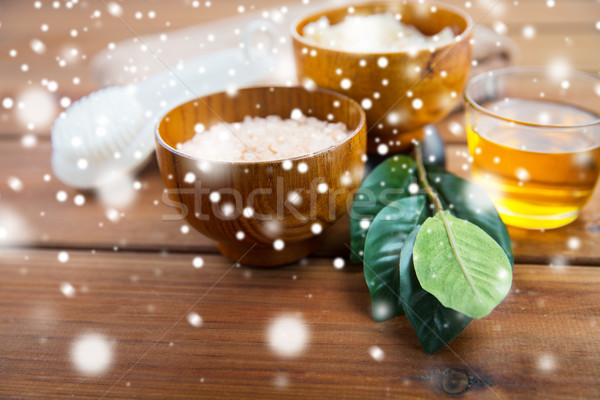 himalayan pink salt, honey and bath stuff Stock photo © dolgachov