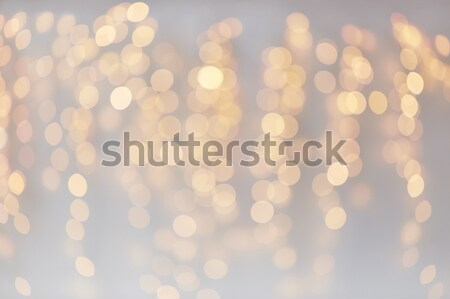 christmas decoration or garland lights bokeh Stock photo © dolgachov