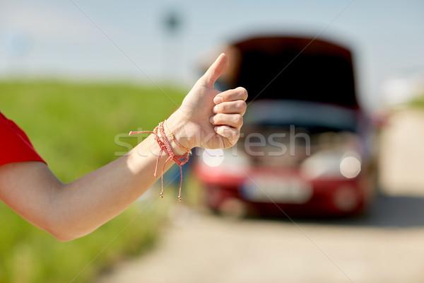 Donna auto rotta campagna strada viaggio trasporto Foto d'archivio © dolgachov