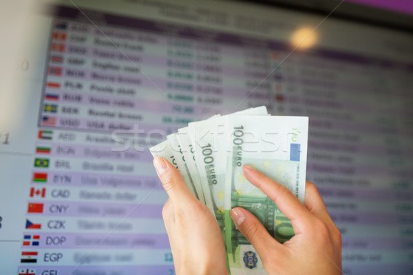 hands with euro money over currency exchange rates Stock photo © dolgachov