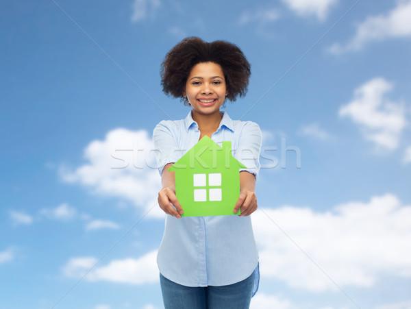 счастливым афроамериканец женщину теплица икона люди Сток-фото © dolgachov