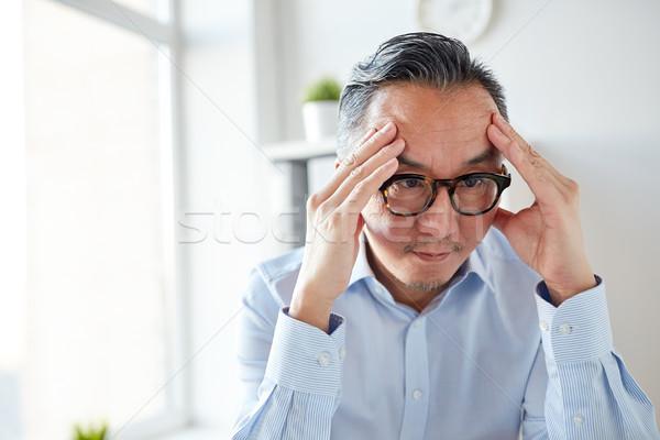 Angstig zakenman bril kantoor business stress Stockfoto © dolgachov