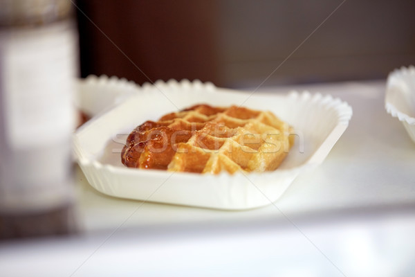 close up of waffle on paper plate Stock photo © dolgachov