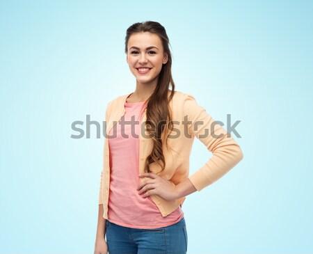 Feliz sorridente mulher jovem cardigã moda pessoas Foto stock © dolgachov