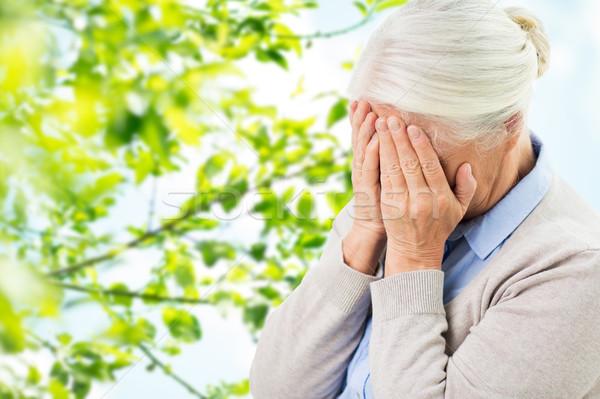 シニア 女性 頭痛 悲しみ ストレス ストックフォト © dolgachov