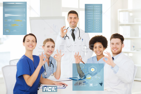 group of doctors showing ok hand sign at hospital Stock photo © dolgachov